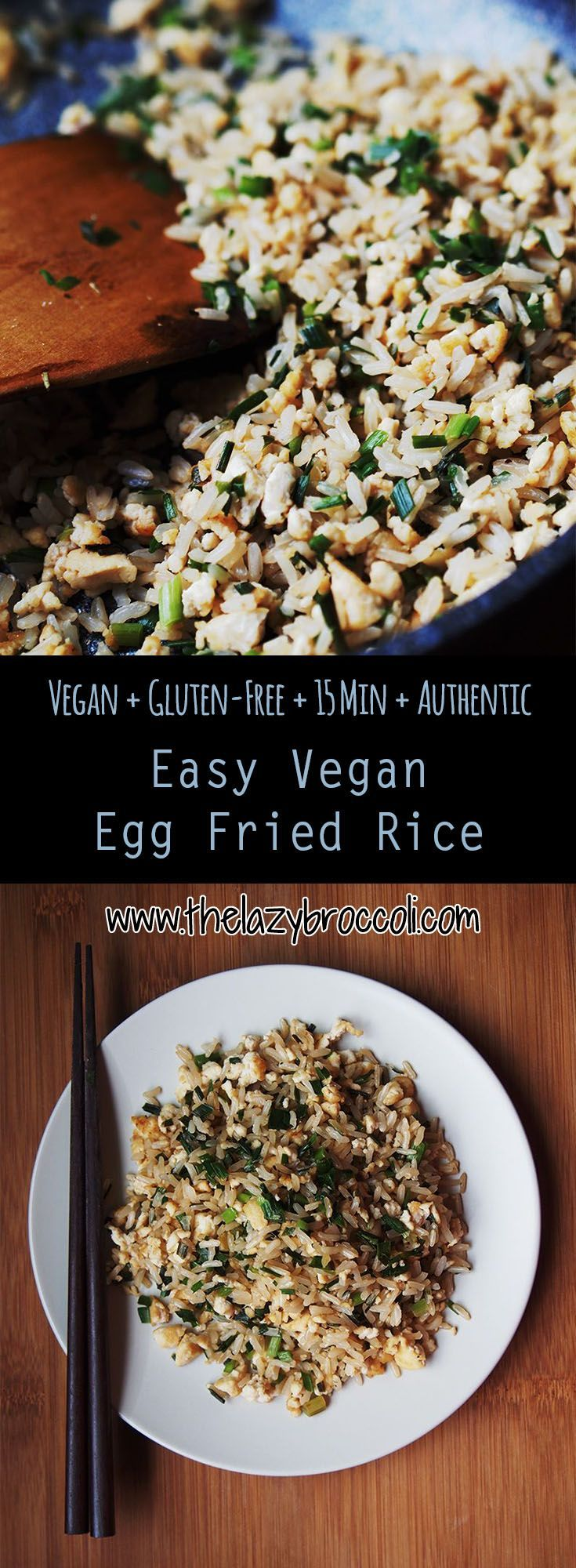 This vegan, gluten free 'egg' fried rice is an authentic basic Chinese-style fried rice recipe and the best part is it only takes 15 minutes to make! You only need brown rice, tofu, chives (or spring onions) and some soy sauce - super easy, affordable, and plate-licking good :)