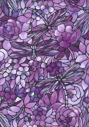 100% Cotton 6 yards #Purple Stain Glass Twilight Garden Fabric Freedom dragonfly