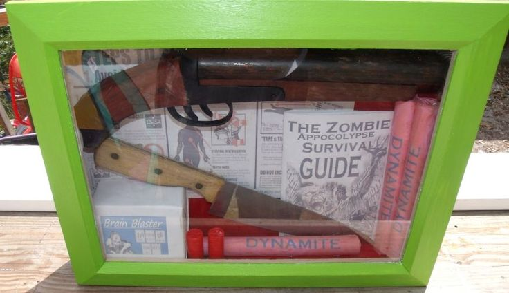 Zombie Apocolypse Survival Kit shadowbox