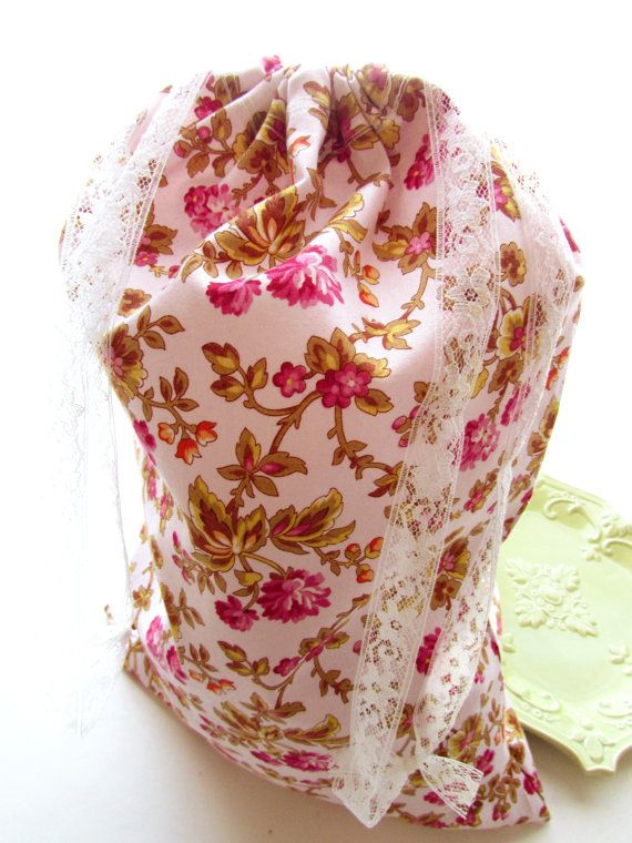Drawstring Pouch Floral Bag Mother's Day Gift  by Itsewbella, $16.00