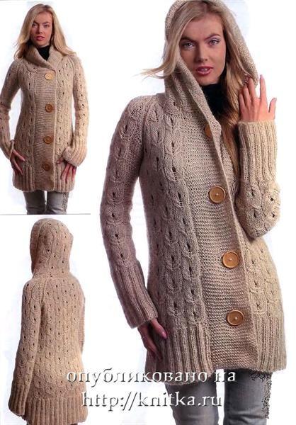 Вязанное пальто с капюшоном купить