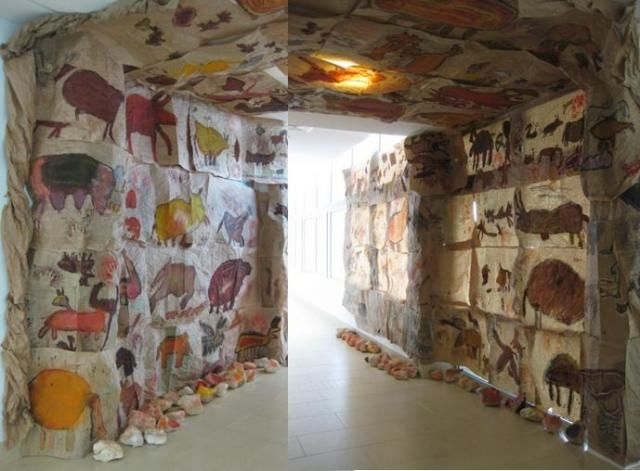 Here's how one teacher displayed her students' cave drawings--just splendid!