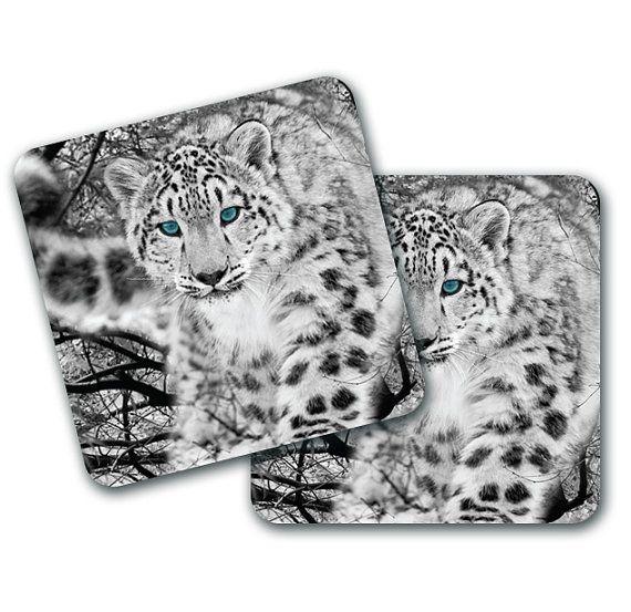 Set of 4 Snow Leaopard Design Coasters by LookNFindLtd on Etsy