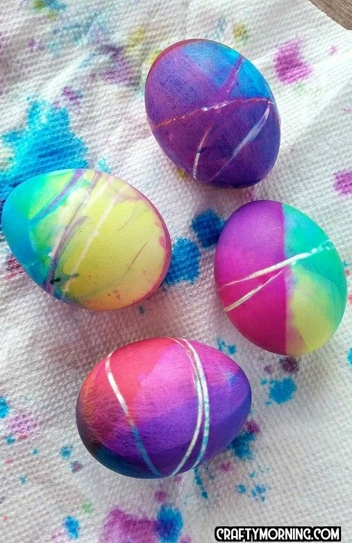 Beautiful Rubberband multi colored Easter egg decorating for the kids!