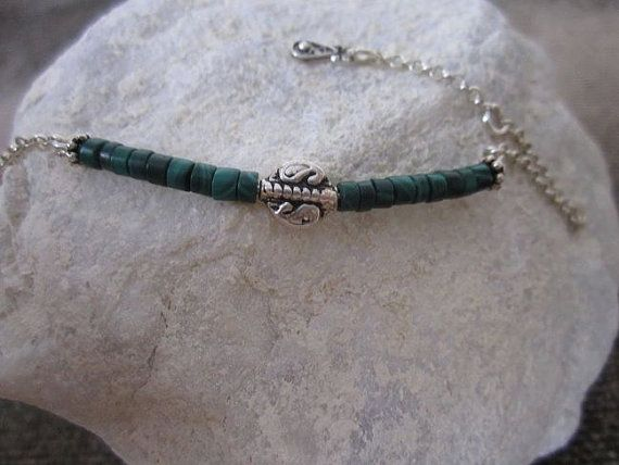 Naturel Malachite beads bracelet with sterling silver chain Best gift for birthday, Christmas, New year, Eid...