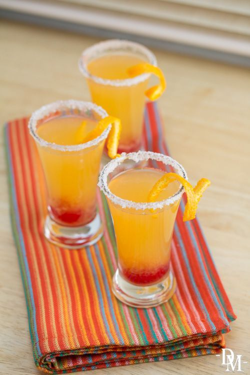 Mexican Screwdriver Shooters:  4 oz tequila blanco, 4 oz fresh-squeezed orange juice, 4 maraschino cherries, Ice, Salt and orange twist for garnish