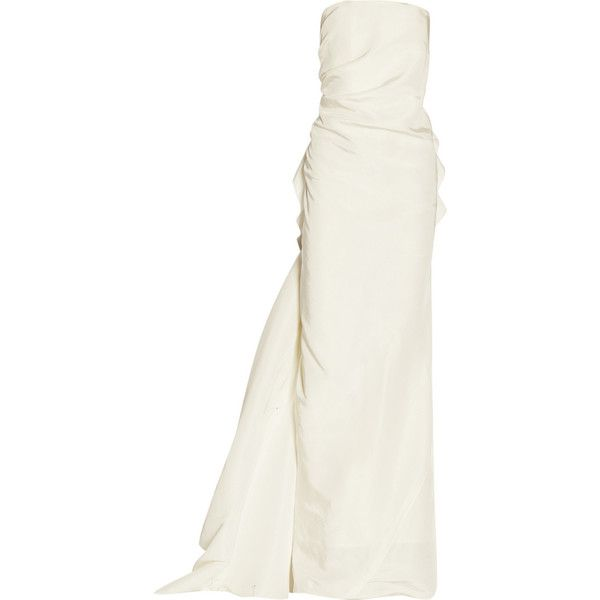 Lanvin Silk-faille gown (€6.000) ❤ liked on Polyvore featuring dresses, gowns, wedding, long dresses, evening gowns, white, formal ball gowns, silk gown, white gown and white formal dresses