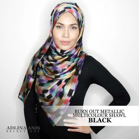 BURN OUT METALLIC FINISH MULTICOLOUR SHAWL - BLACK  $48.50 SGD  Material: Satin weave   Length: 200cm  Width: 66.5cm  Fabric Care: Dryclean or Hand wash only and do not wring.   Iron only on the wrong side, on medium setting.  You'll find only the best hijabs / tudungs / scarves that are shipped worldwide.  Click through to the website to find out more.