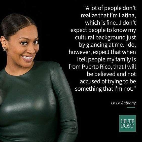 KNOWLEDGE OF SELF..... LA LA ANTHONY  Afro-Latinos face many challenges when it comes to identity particularly when people refuse to believe that being Black and Latino arent mutually exclusive experiences.  In a personal essay for Latina magazine in 2011 the Power actress described the pushback shes received over her Black and Latina identity. As I start to get my feet wet in Hollywood I already know that there are certain parts I wont even be considered for Anthony wrote. The character can…