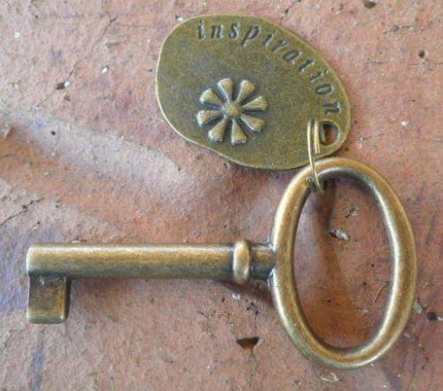 Brass Vintage style tagged skeleton key with inspiration tag by Keyedin on Etsy