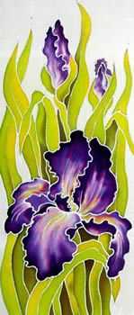 Pruple Irises(left), Silk painting-Varvara Harmon