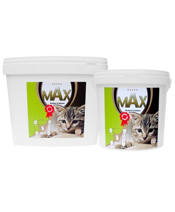 Max Kat en Kitten Voeding  Volledig uitgebalanceerde 5 sterren-voeding voor katten van jong tot oud. Met Max krijgt de kat maximale voeding! Max Kat en Kitten is een Super Premium Plus voeding in brokvorm en bevat hoogwaardige ingrediënten. Door het toevoegen van het voedingssupplement Biozin is Max Kat en Kitten de meest complete voeding voor katten en kittens. Max Kat en Kitten bevat alle benodigde essentiële Omega vetzuren Vitaminen en Mineralen die een kat of kitten nodig heeft voor…