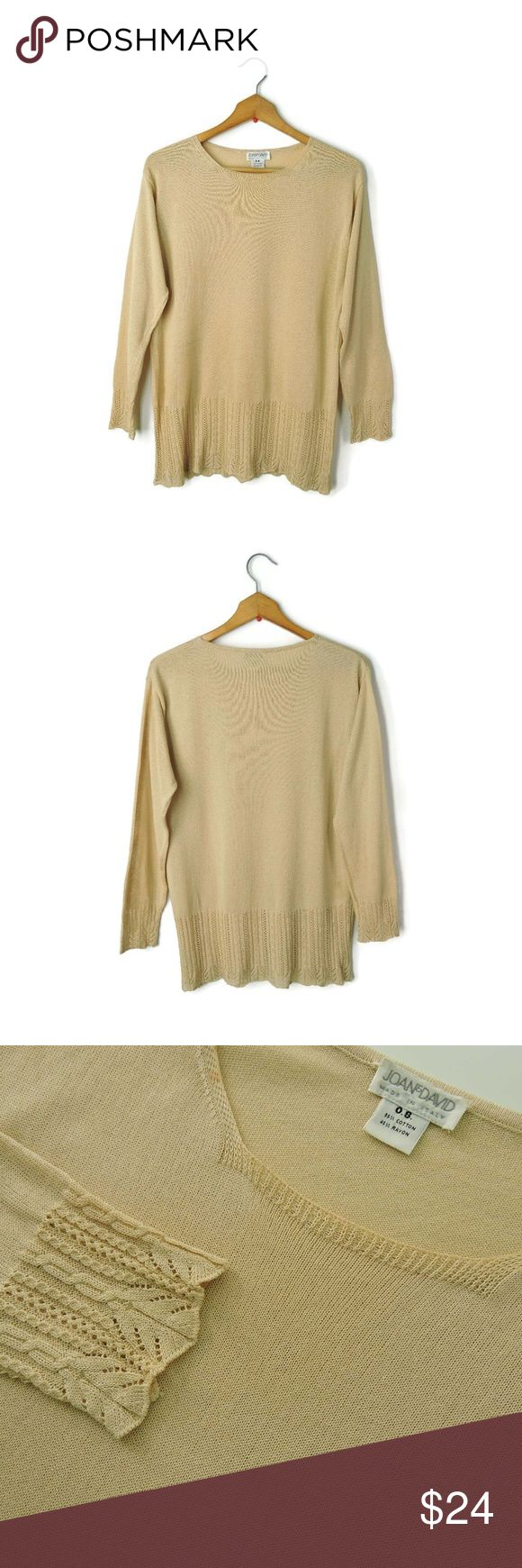 "Joan & David made Italy beige sweater lace cuffs Joan & David elegant ladies sweater. Pull over, long sleeves, lace knit cuffs and hemline, stretchy.   Size - O.S. on the tag, will fit best M Chest -  20"" (armpit to armpit) Length - 24"" (from shoulder) Waist - 18"" Sleeve Length - 21"" Across the bottom/hem - 17"" Material - 55% Cotton, 45% Rayon (Dry Clean Only)   Condition: Previously worn, with only very slight wash wear Made in Italy Joan & David Sweaters Crew & Scoop Necks"