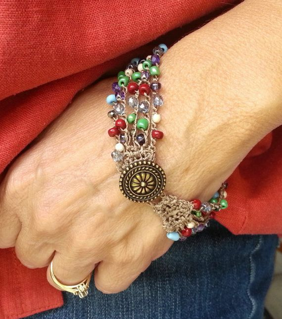 Bohemian Colorful Beaded Crochet Bracelet door ...