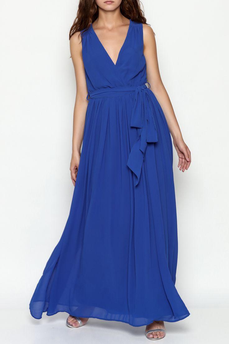 Bio Solid Sleeveless Chiffon Maxi Dress - Main Image