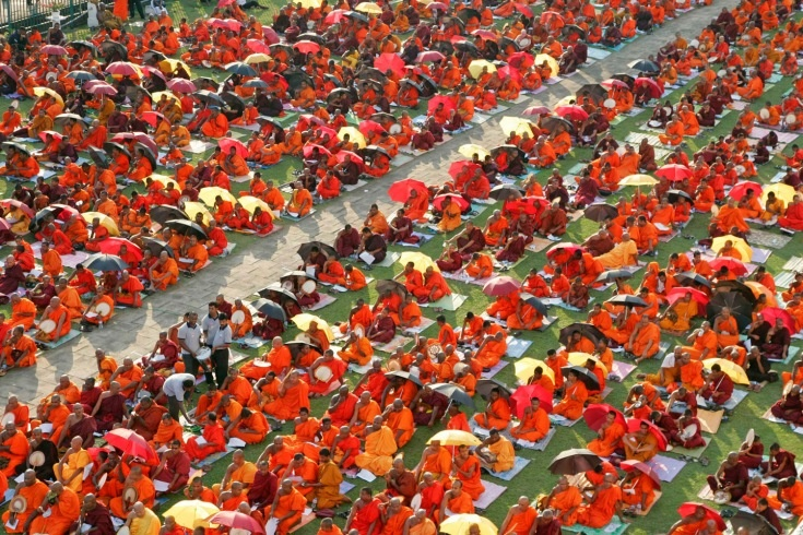 March 19, 2012. Buddhist monks pray during a ceremony for the defeat of a U.N. resolution calling on Sri Lanka to probe wartime human rights abuses in Colombo, Sri Lanka.