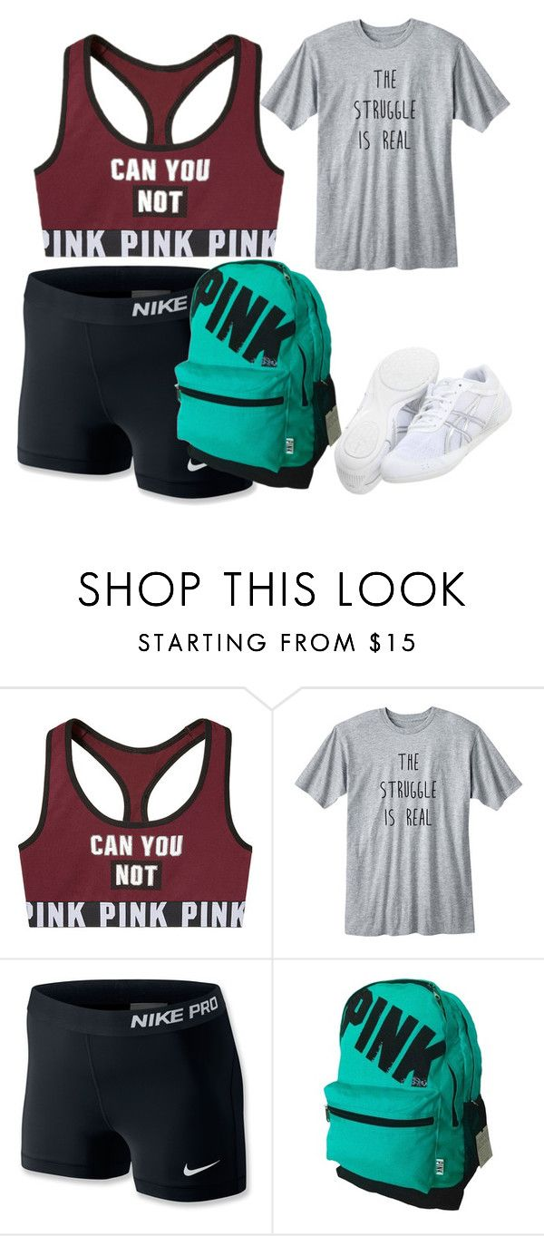 """cheer outfit"" by littleminyon58 ❤ liked on Polyvore featuring NIKE and Asics"