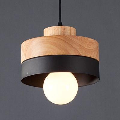 Industrial Simple Wood Pendant Hanging Lamp Indoor Light Fixture In Cylinder Shape Hanging Pendant Lamp Modern Hanging Lamp Wood Pendant Lamps