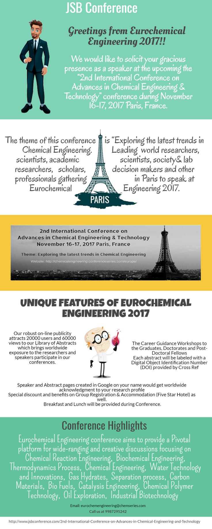 """JSB Conference is inviting you to attend 2nd International Conference on Chemical Engineering and Technology, 2017.  Theme of the Chemical engineering 2017 conference is """"Exploring the latest trends in Chemical Engineering"""" with an objective to encourage young minds and their research abilities by providing an opportunity to meet the experts in the field of Chemical Engineering."""