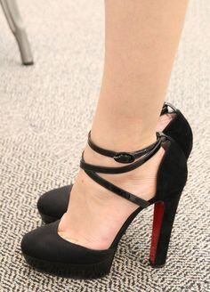 @207 Jane Keltner de Valle  in Christian Louboutin Black Mary Jane type Heels