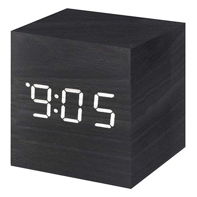 Vech Wooden Digital Alarm Clock Mini Modern Cube Desk Alarm Clock