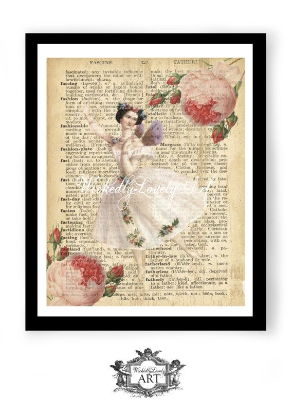 A beautiful vintage drawing of one of the most famous ballerina's that has ever lived, Marie Taglioni. and two full blown delicate pink roses laid over a page from an antique Dictionary. ☆☆★¸•*¸.•*´¨¨¯¯¨¨˜ª★ Please Kindly note ☆☆★¸•*¸.•*´¨¨¯¯¨¨˜ª★ You are purchasing a WickedlyLovely