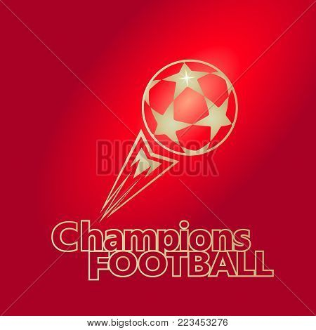 Soccer Championship Abstract red background with soccer ball, football logo, sticker, symbol, icon concept vector illustration