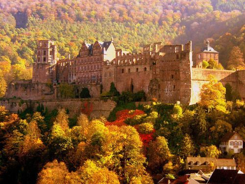 Heidelberger Schloss (Heidelberg Castle),  Heidelberg, Germany...     www.castlesandmanorhouses.com   ...     The earliest castle here was built before 1214 and expanded into two castles around 1294. In 1537, a lightning-bolt destroyed the upper castle. The present structures had been built by 1650. In 1764, another lightning strike caused a fire which destroyed some of the rebuilt sections. The castle has been partially rebuilt again since the 18th century, but is still largely ruined.