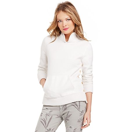 Tommy Hilfiger women's fleece. Part of the Surf Shack Collection. Sweater styling with terry softness, what could be better? Gold buttons at the torso add a bit of bling to this relaxed yet refined top. nbsp;nbsp;nbsp;br/• Slim fit.br/• 60% cotton, 40% synthetic.br/• Kanga pocket, standup collar. br/• Machine washable.br/• Imported.br/