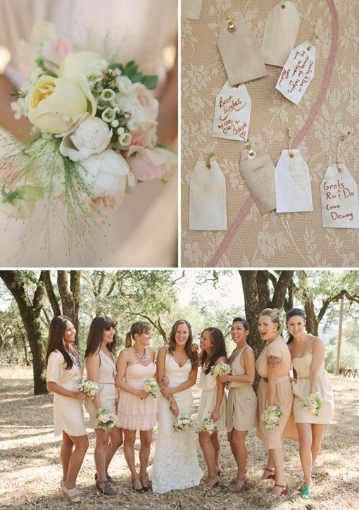 #nude #color wedding: Wedding Bridesmaid Dresses, Dresses Style, Color Schemes, Color Patterns, Cream Bridesmaid Dresses, Pale Pink Bridesmaid, The Dresses, Bridesmaid Dresses Color, Bridesmaid Color