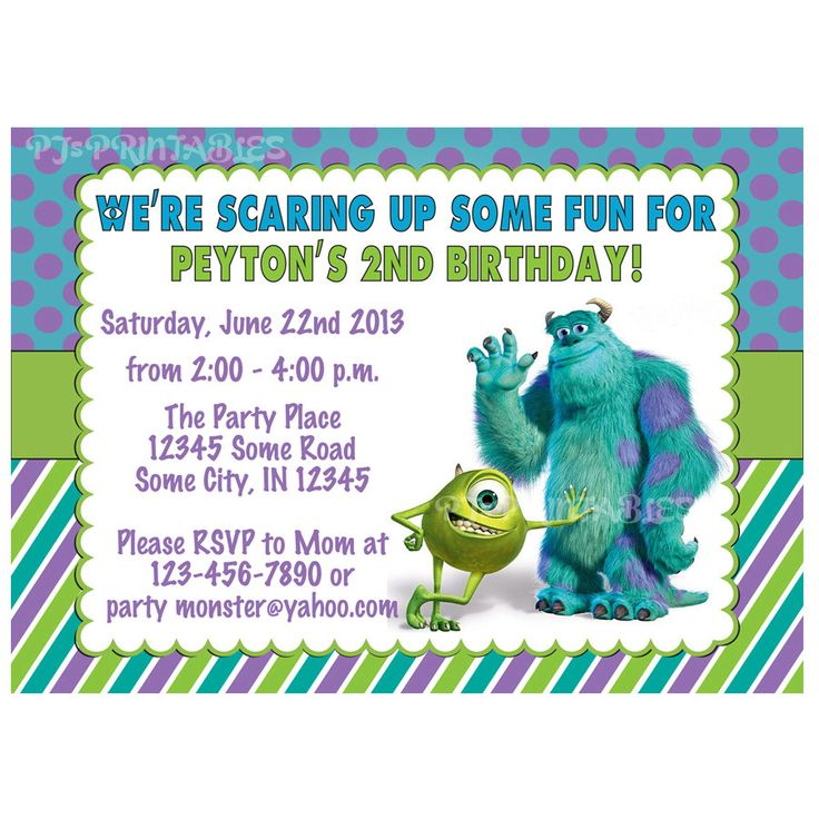 Monsters Inc Birthday Invitation  Custom Digital by PJsPrintables, $10.00