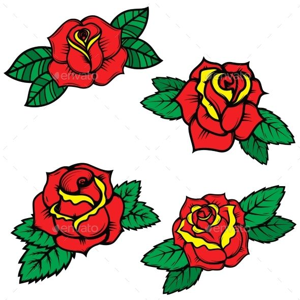 Set of Old School Tattoo Style Roses
