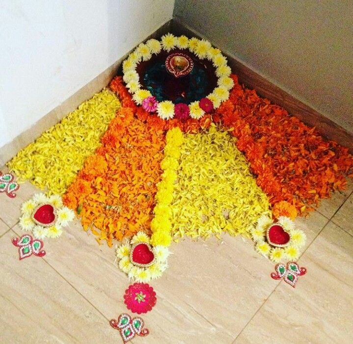 The Best Flower Rangoli Designs For Corner And Review in