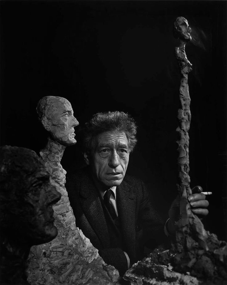 Yousuf Karsh: Alberto Giacometti, 1965  Shortly before his death, I photographed a pain-wracked Giacometti surrounded by his elongated sculptures of his brother, Diego. Afterwards, in the narrow street that separated two houses, I talked quietly with Giacometti and his dealer, Pierre Matisse, the son of the famous artist.  The tranquil blue sky made more poignant the transience of life. Two weeks later, Giacometti was dead.