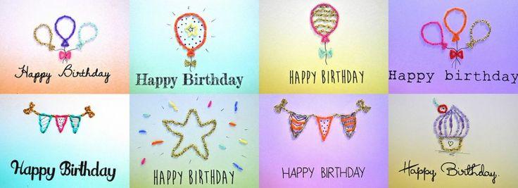 Verjaardagskaarten geborduurd - By Caitlin - Liefde voor handgemaakt en design