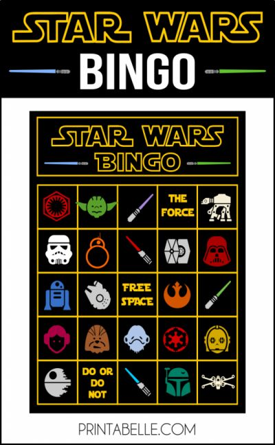 Instant Download - Star Wars Bingo Printable Game!  10 unique bingo cards, two to a page. Plus, a calling card.  I also have other Star Wars printables:  Free Star Wars party printables, plus extras. Free printable R2-D2 favor bag template. Star Wars printable party food card set.  For personal use only, do not modify, sell or redistribute.