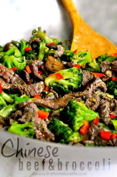 Yummo! A Chinese take out family favorite easily made at home! You re going to love this super easy Chinese beef and broccoli recipe!  <img class=aligncenter size-full wp-image-6534 src=http://www.firsthomelovelife.com/wp-content/uploads/2014/09/chinese-beef-and-broccoli-recipe.