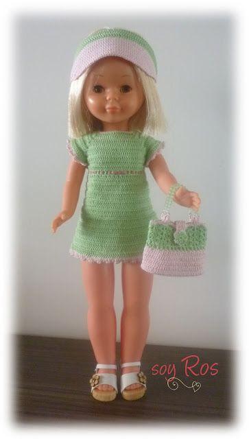 soy Ros: vestido, visera y bolso de crochet hecho a mano