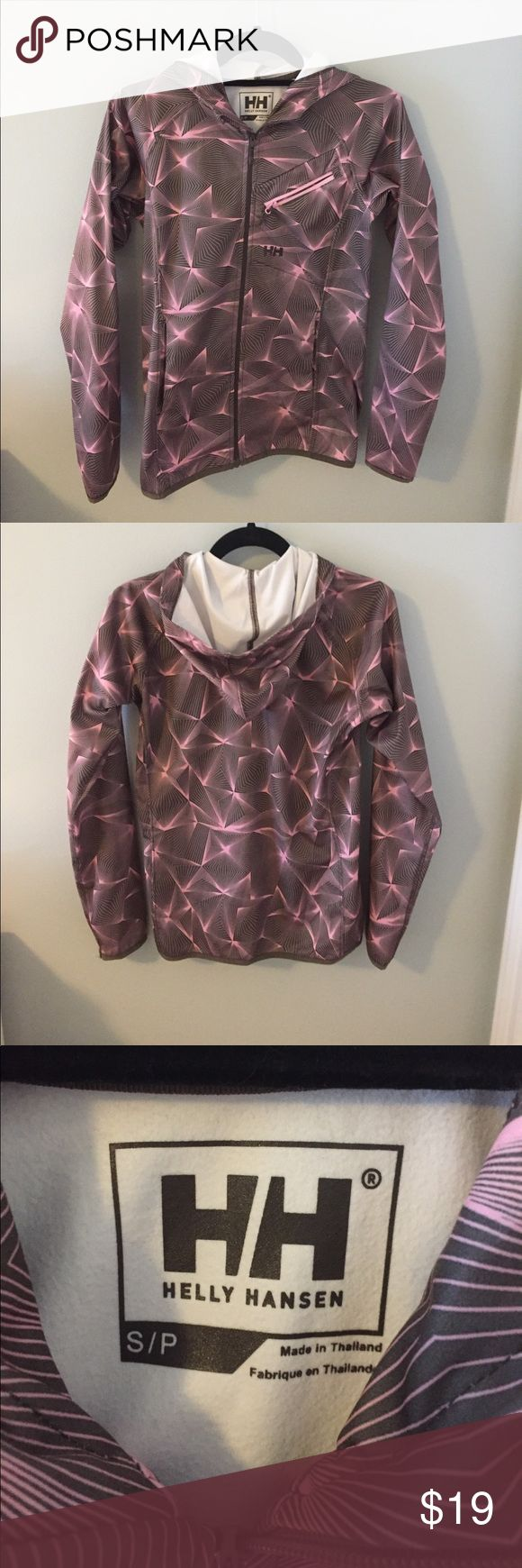 Helly Hansen Long Sleeve Zip Up Jacket Two pockets on each side and one on the front! Purple and brown pattern! Perfect condition rarely worn. Helly Hansen Jackets & Coats
