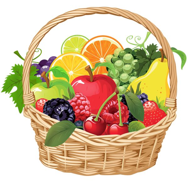 Fruit Basket PNG Vector Clipart