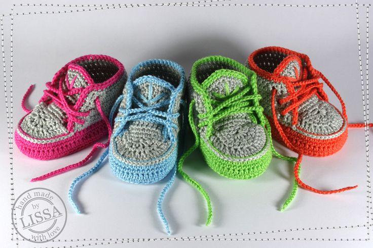 Baby Turnschuhe Sneaker von LISSA auf DaWanda.com Babyschuhe, gehäkelt, Häkelschuhe, Turnschuhe, Baby, Schuh, Sneaker, Geschenk, Schühchen, neon, chucks, Babychucks, shoes, crochet baby shoes