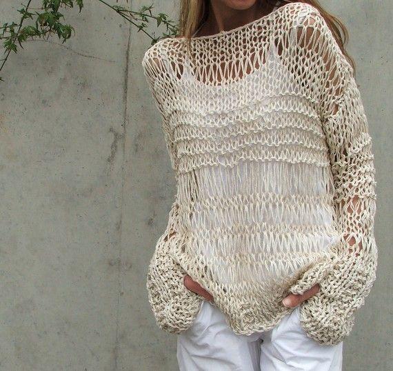 Crema suéter de lino de algodón / flojos de punto/verano suéter grunge último
