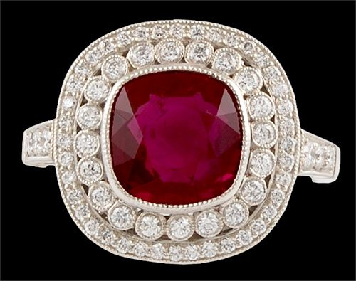 A fine platinum diamond & ruby ring.   Diamond - .40cts. and Ruby - 3.0cts.