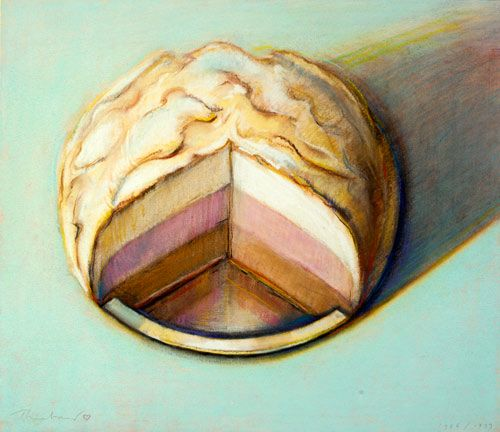Wayne Thiebaud (b. 1920), Neapolitan Meringue, 1986/1999.  pastel over trial proof lithograph
