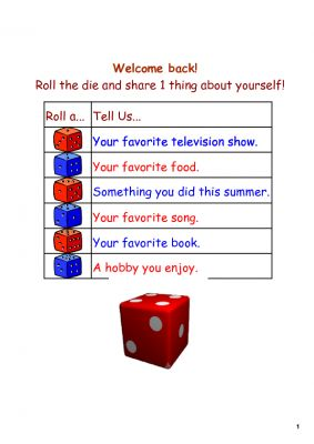 Back to School Smartboard DIce Activity from Kates Middle School Math on TeachersNotebook.com - (1 page) - Use this Notebook file on your Smartboard on the first day of school to get to know your new students. The large die on the bottom is an interactive one. Students will come up to the Smartboard, roll the die (by tapping it), and then share something depe