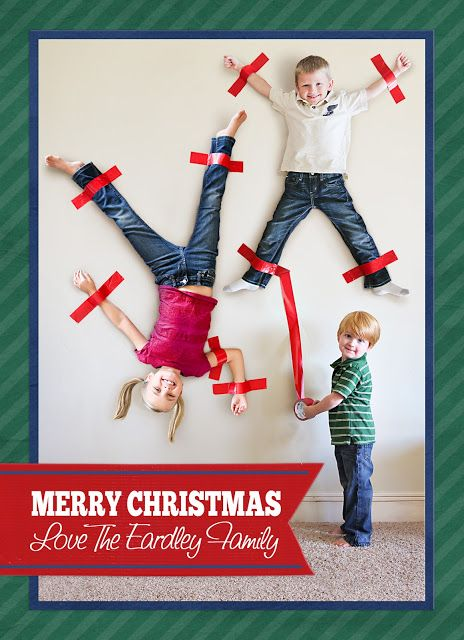 Signature Scrapbooks Blog - what a tremendously fun Christmas card idea... I'm thinking parents on the wall decorated with Christmas lights and kids holding tape and tinsel