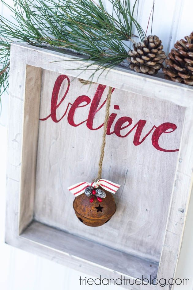 """""""Believe"""" Rustic Christmas Art - Something to make with my old frames and silhouette machine."""