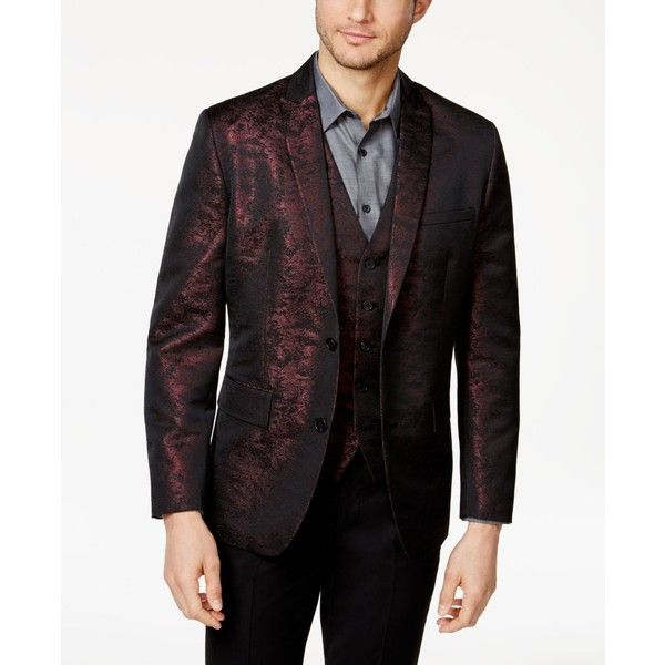 INC Men's Slim-Fit Jacquard Blazer, Created for Macy's ($49) ❤ liked on Polyvore featuring men's fashion, men's clothing, men's sportcoats, burgundy, mens clothing, mens burgundy blazer, men's sportcoats and blazers, slim fit mens clothing and mens slim fit blazers