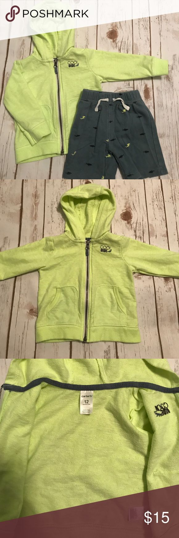 """Toddler Boy Carter's Shark Sweatshirt & Shorts Good condition- no holes, no stains or marks. The reason I'm listing as """"GOOD"""" instead of excellent is because the zipper works but is a little rough on the way down on the unzip. It zips up normally. But a it's a little rough on the way down. It works but I need to mention that. Color of Sweatshirt is a lime green color and shorts are gray. Smoke free home. Carter's Matching Sets"""