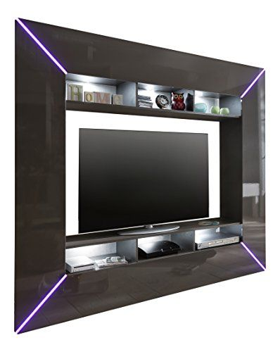 trendteam SC95121 Wohnwand TV Möbel grau Hochglanz, BxHxT 201x180x35 cm